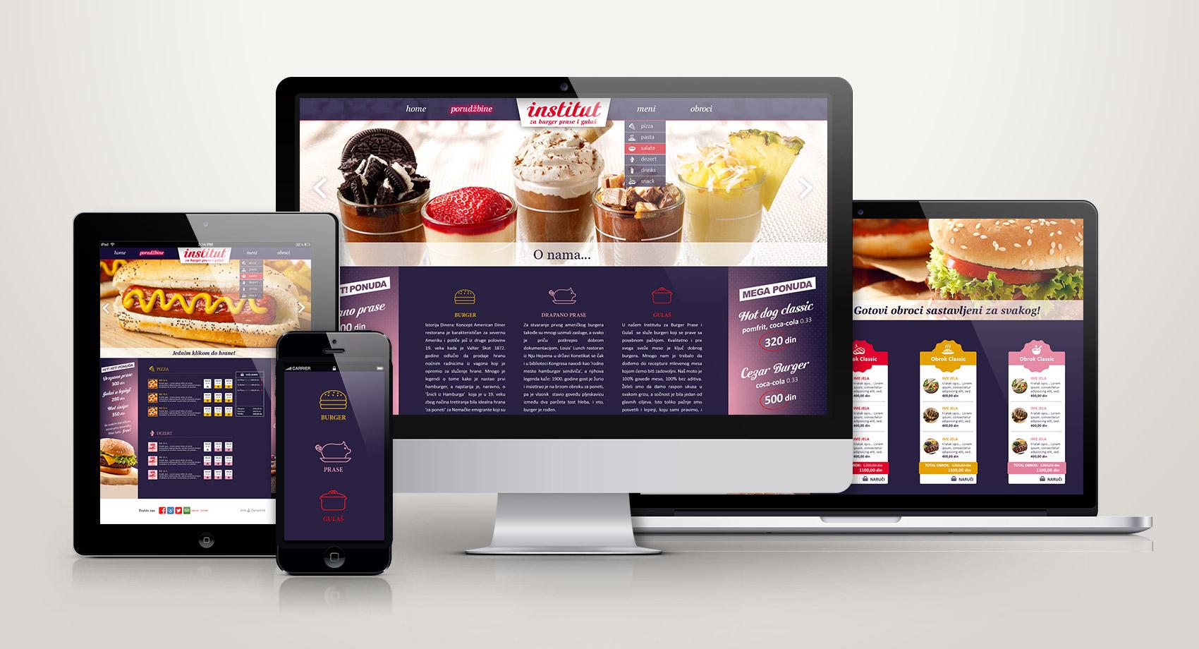 Izrada sajta za institut za burger prase i gulas